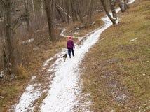 Γυναίκα και σκυλί Στοκ εικόνες με δικαίωμα ελεύθερης χρήσης