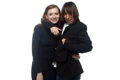 Γυναίκα και τρελλός άνδρας στο μαύρο σακάκι Στοκ Φωτογραφίες