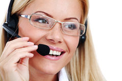 γυναίκα κασκών κλήσης Στοκ Εικόνα
