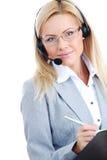 γυναίκα κασκών κλήσης Στοκ Εικόνες