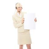γυναίκα κασκών τηλεφωνι&kap Στοκ Εικόνα