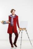 Γυναίκα καλλιτεχνών στην εργασία απομονωμένος Στοκ Εικόνες