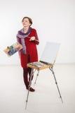 Γυναίκα καλλιτεχνών στην εργασία Στοκ Φωτογραφία