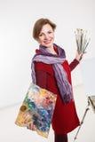 Γυναίκα καλλιτεχνών στην εργασία Στοκ Εικόνα