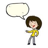 γυναίκα κινούμενων σχεδίων που γελά και που δείχνει με τη λεκτική φυσαλίδα Στοκ Φωτογραφία