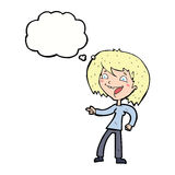 γυναίκα κινούμενων σχεδίων που γελά και που δείχνει με τη σκεπτόμενη φυσαλίδα Στοκ Εικόνες