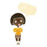 γυναίκα κινούμενων σχεδίων που κάνει το cWho μου; χειρονομία με τη λεκτική φυσαλίδα Στοκ φωτογραφία με δικαίωμα ελεύθερης χρήσης