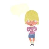 γυναίκα κινούμενων σχεδίων που κάνει το cWho μου; χειρονομία με τη λεκτική φυσαλίδα Στοκ Φωτογραφίες