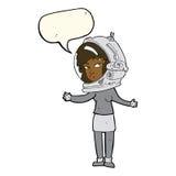 γυναίκα κινούμενων σχεδίων που φορά το κράνος αστροναυτών με τη λεκτική φυσαλίδα Στοκ φωτογραφία με δικαίωμα ελεύθερης χρήσης