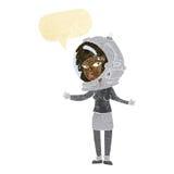 γυναίκα κινούμενων σχεδίων που φορά το κράνος αστροναυτών με τη λεκτική φυσαλίδα Στοκ εικόνες με δικαίωμα ελεύθερης χρήσης