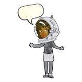 γυναίκα κινούμενων σχεδίων που φορά το κράνος αστροναυτών με τη λεκτική φυσαλίδα Στοκ εικόνα με δικαίωμα ελεύθερης χρήσης