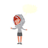 γυναίκα κινούμενων σχεδίων που φορά το κράνος αστροναυτών με τη λεκτική φυσαλίδα Στοκ Εικόνα