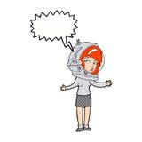 γυναίκα κινούμενων σχεδίων που φορά το κράνος αστροναυτών με τη λεκτική φυσαλίδα Στοκ Φωτογραφίες