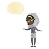 γυναίκα κινούμενων σχεδίων που φορά το κράνος αστροναυτών με τη σκεπτόμενη φυσαλίδα Στοκ εικόνα με δικαίωμα ελεύθερης χρήσης