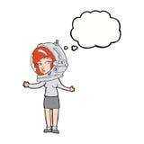 γυναίκα κινούμενων σχεδίων που φορά το κράνος αστροναυτών με τη σκεπτόμενη φυσαλίδα Στοκ Εικόνες