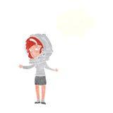 γυναίκα κινούμενων σχεδίων που φορά το κράνος αστροναυτών με τη σκεπτόμενη φυσαλίδα Στοκ φωτογραφία με δικαίωμα ελεύθερης χρήσης