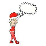 γυναίκα κινούμενων σχεδίων στο κοστούμι νεραιδών Χριστουγέννων με τη λεκτική φυσαλίδα Στοκ εικόνες με δικαίωμα ελεύθερης χρήσης