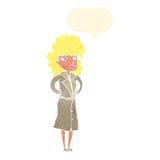 γυναίκα κινούμενων σχεδίων στο παλτό τάφρων με τη λεκτική φυσαλίδα Στοκ φωτογραφία με δικαίωμα ελεύθερης χρήσης