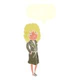 γυναίκα κινούμενων σχεδίων στο παλτό τάφρων με τη λεκτική φυσαλίδα Στοκ εικόνα με δικαίωμα ελεύθερης χρήσης