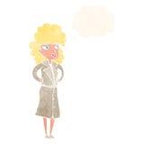 γυναίκα κινούμενων σχεδίων στο παλτό τάφρων με τη σκεπτόμενη φυσαλίδα Στοκ Εικόνα