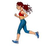 Γυναίκα κινούμενων σχεδίων sportswear που τρέχει, πλάγια όψη Στοκ φωτογραφίες με δικαίωμα ελεύθερης χρήσης