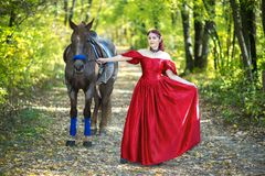 Γυναίκα κοντά στο άλογο Στοκ Εικόνα