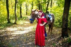 Γυναίκα κοντά στο άλογο Στοκ Εικόνες
