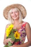 γυναίκα λουλουδιών κίτ&r Στοκ Φωτογραφίες