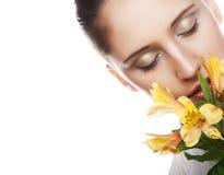 γυναίκα λουλουδιών κίτ&rh Στοκ Φωτογραφίες