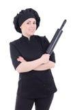 Γυναίκα μαγείρων μαύρο σε ομοιόμορφο με την κυλώντας καρφίτσα ψησίματος που απομονώνεται επάνω Στοκ Εικόνα