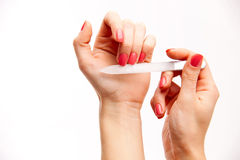 γυναίκα μανικιούρ χεριών Στοκ Εικόνες