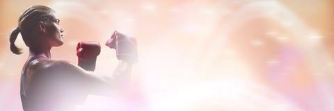 Γυναίκα μαχητών μπόξερ με τη μετάβαση σπινθηρίσματος Στοκ Φωτογραφία