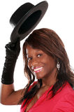 γυναίκα μαύρων καπέλων Στοκ εικόνα με δικαίωμα ελεύθερης χρήσης