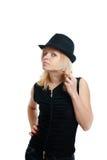 γυναίκα μαύρων καπέλων Στοκ εικόνες με δικαίωμα ελεύθερης χρήσης