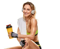 Γυναίκα μετά από το σκληρό φίλαθλο workout ιδρώτας Στοκ Φωτογραφία