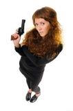 Γυναίκα με ένα πυροβόλο όπλο Στοκ φωτογραφία με δικαίωμα ελεύθερης χρήσης