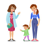 Γυναίκα με γιατρό, τη μητέρα και την κόρη μικρών κοριτσιών τον επισκεπτόμενο Στοκ Φωτογραφίες