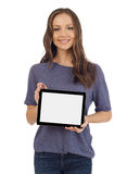 Γυναίκα με μια ψηφιακή ταμπλέτα Στοκ εικόνα με δικαίωμα ελεύθερης χρήσης