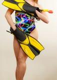 Γυναίκα με τα βατραχοπέδιλα και την κολυμπώντας με αναπνευτήρα μάσκα στοκ εικόνα με δικαίωμα ελεύθερης χρήσης
