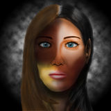 Γυναίκα με τα διαφορετικά χρώματα δέρματος Στοκ Εικόνες