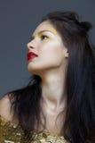 Γυναίκα με τα κόκκινα χείλια στοκ εικόνα με δικαίωμα ελεύθερης χρήσης