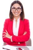 Γυναίκα με την έκφραση της εμπιστοσύνης και εύθυμος Στοκ Εικόνες