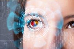 γυναίκα με την έννοια επιτροπής ματιών τεχνολογίας cyber Στοκ φωτογραφία με δικαίωμα ελεύθερης χρήσης