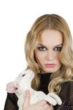 Γυναίκα με την ασιατική γάτα shorthair Στοκ Εικόνα