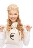 Γυναίκα με την ευρο- υπογεγραμμένη τσάντα Στοκ εικόνα με δικαίωμα ελεύθερης χρήσης