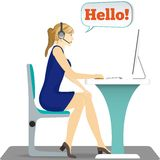 Γυναίκα με την κάσκα στην επικεφαλής συνεδρίασή της σε μια καρέκλα διανυσματική απεικόνιση