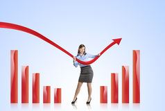 Γυναίκα με την καμπύλη στατιστικών Στοκ Φωτογραφία