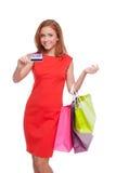 Γυναίκα με την πιστωτική κάρτα Στοκ εικόνα με δικαίωμα ελεύθερης χρήσης