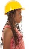 Γυναίκα με την πορτοκαλιά πλευρά δεξαμενών καπέλων κατασκευής Στοκ φωτογραφία με δικαίωμα ελεύθερης χρήσης