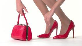 Γυναίκα με την τσάντα απόθεμα βίντεο